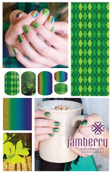 St Patricks Day Nails, cute and easy DIY nail art these Jamberry nail wraps stay on up to 2 weeks and make fabulous looking nails easy