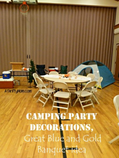 campfire party decorations, #party,#blueandgoldbanquet, #campingparty, #thriftypartyideas, #easypartyideas