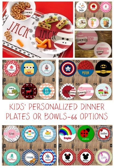 KIDS' PERSONALIZED DINNER PLATES OR BOWLS-66 OPTIONS, Gift ideas, Kitchen ideas, Kid freindly Meal ideas
