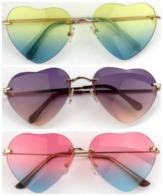 heart shaped aviator sun glasses