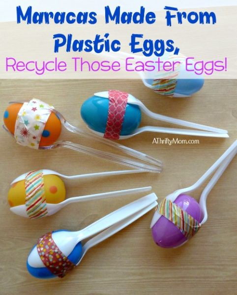 maracas made from plastic eggs, recycle those easter eggs!, #maracas, #diy, #crafts, #thriftycrafts, #kidscrafts, #washitape, #eggs, #easter, #plasticspoons, #thriftycrafting, #boredombuster