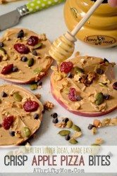 Healthy Lunch or Snack ideas Crisp Apple Pizza Bites, cool recipes for summer, apples peanut butter nuts berry and honey all natural