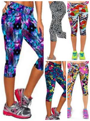Bright printed yoga sport running workout stretch pants