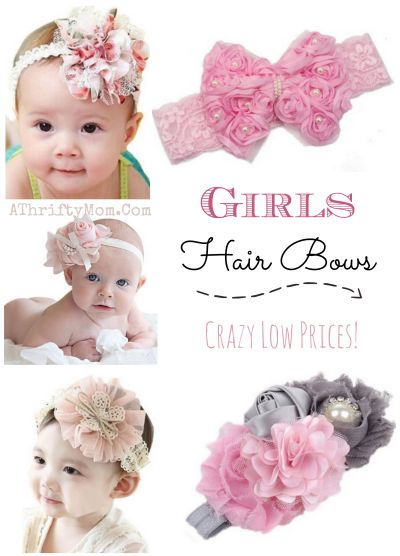 Girl headbands and bows, baby head wraps, vintage inspired hair bows and flowers, baby photo props with free shipping option
