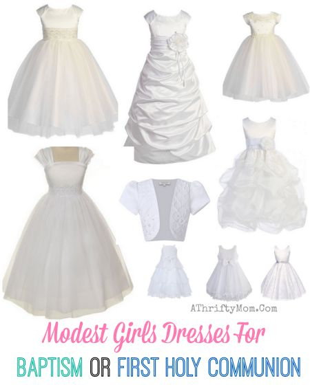 White Modest Baptism Dress, low cost dress for an LDS Mormon youth baptism, Or First Holy Communion in the Calothic Church, fancy white dress with sleeves kneee length
