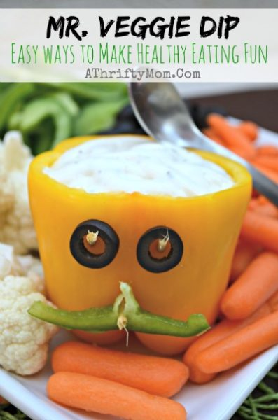 Healthy Eating made FUN for kids with Mr. Veggie Dip, creative vegetable patter ideas for parties or Halloween, Easy finger food for kids and adults