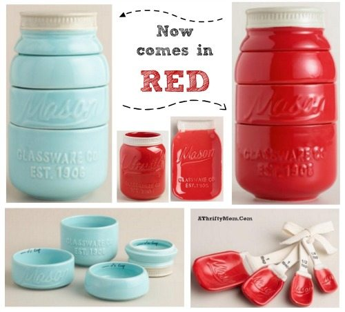 mason jar measuring cups now come in teal and red, kitchen decor and gift ideas for mom