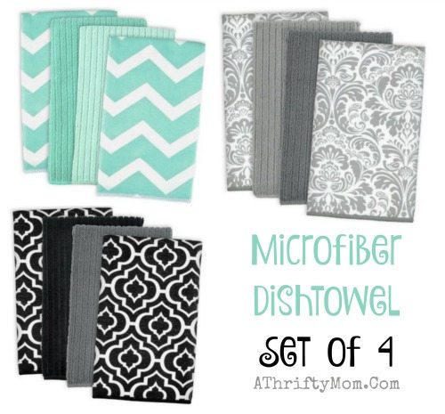 Microfiber Dishtowel, Set of 4 Cleaning, Washing, Drying, Ultra Absorbent,