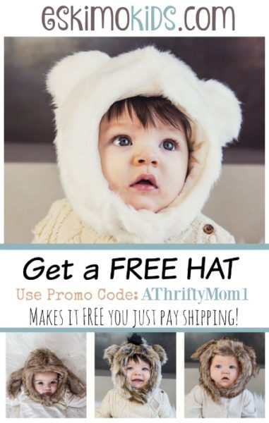 Free hats at eskimokids.com when you use coupon code athriftymom1, you can get hats to fit the whole family baby up to adults, makes a great baby shower gift idea