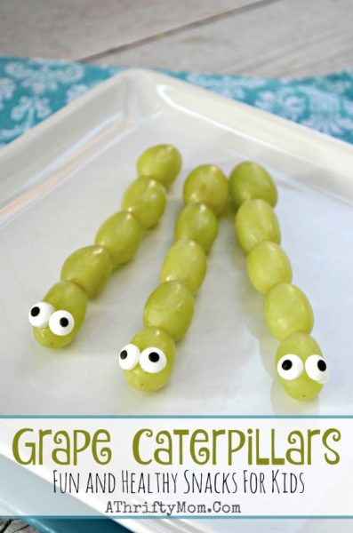 Fun and Healthy Snacks for kids, Funny lunch ideas, April Fools ideas for kids, Preschool party food, Grape caterpillars