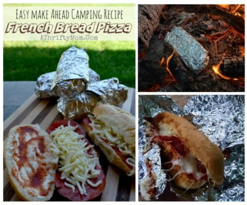 Campfire cooking, easy outdoor cooking, camping menu recipe ideas, french bread pizza made on the campfire, camping hacks, dinner ideas for outdoor cooking