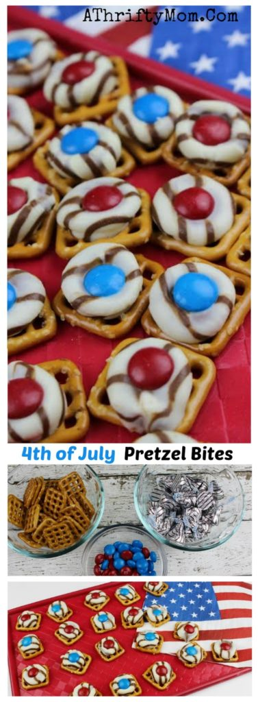 july 4th treats and desserts, easy bbq food ideas for a 4th of july party, Hugs and M&M's pretzel bites great recipe for kids to help you with