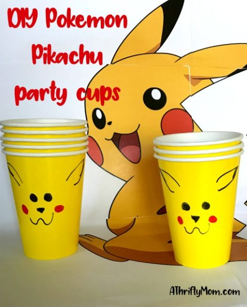 DIY Pokemon Pikachu party cups