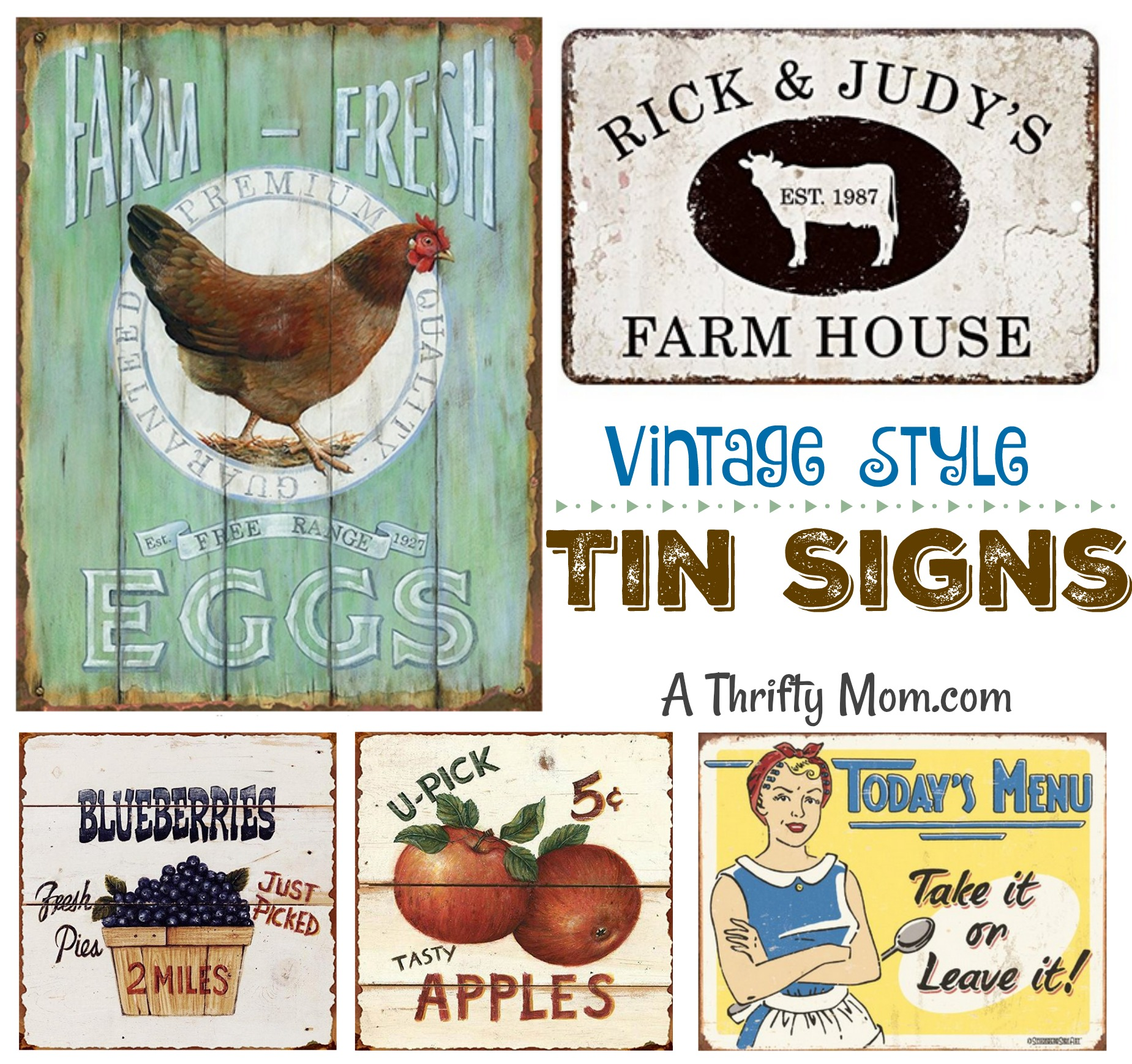 Vintage Style Tin Signs