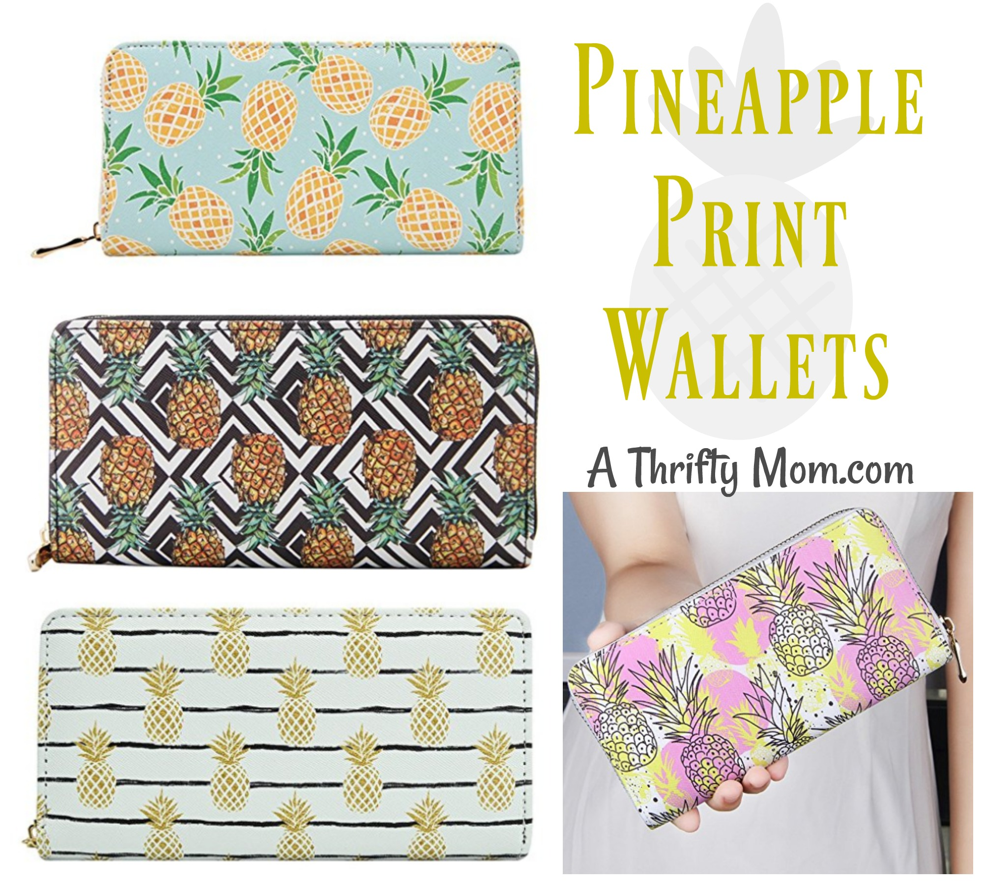 Leather Pineapple Print Wallets
