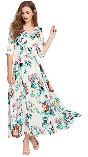 Button Up Floral Maxi Dresses