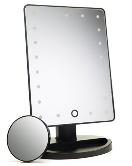 Lighted mirror with touch screen dimming