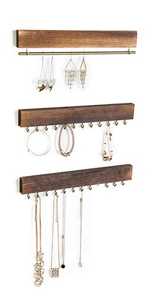 Rustic Wood & Gold Tone Jewelry Organizers