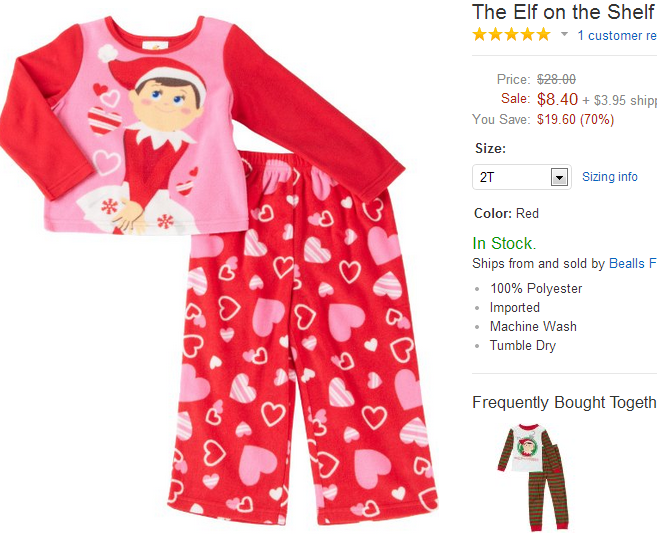 elf on the shelf pajamas on sale. Black Bedroom Furniture Sets. Home Design Ideas