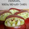 Creepy Apple Mouths, Healthy Halloween Snacks #Party #DIY