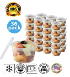 Small Plastic Food Containers with Lids 36 pk – Leak Proof, Microwavable, Freezer and Dishwasher Safe