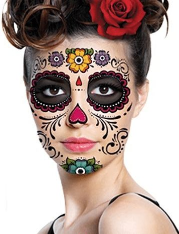 Skull face day of the dead temporary tattoo