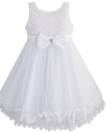 20ad6e5658b4 White Modest Girls Dresses for Baptism or First Holy Communion