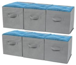Greenco Foldable Storage Cubes Non-woven Fabric -6 Pack-(Gray)