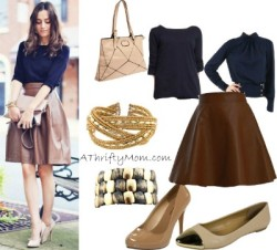 Leather Skirt Blue Top Fashion Style Board