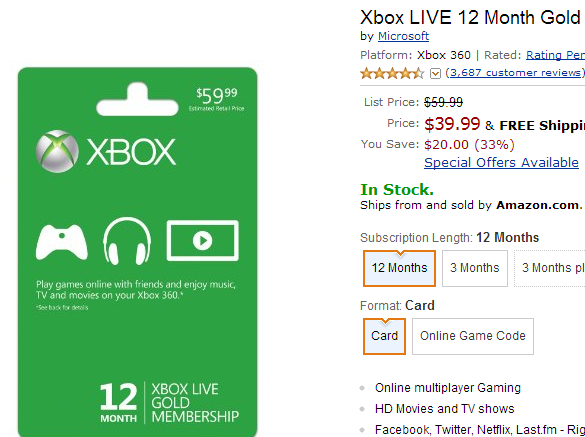 XBox live 12 month gold membership sale