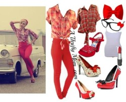 Hot Red Rockabilly Pin Up Fashion Style Board