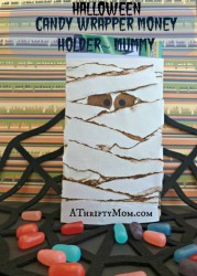 Candy wrapper gift card holder mummy