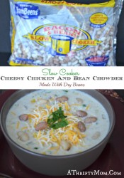 Cheesey Chicken and Bean Chowder, made in the slow cooker with dry Hurst Ham Been  Beans, quick and easy. jpg