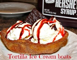 Old el paso ice cream boats with Hershey's syrup