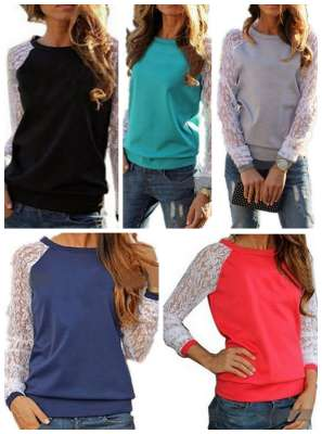 lace sleeve casual top