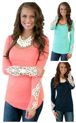 long sleeve lace accent top