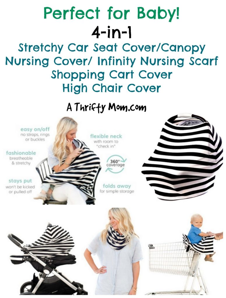 a4d21df5f5f65 4 in 1 Strectchy Car Seat Cover, Nursing Cover, Shopping Cart Cover, High