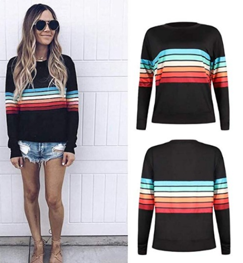 Rainbow colorful stripe sweater