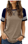 Womens-T-Shirts-Short-Sleeve-Striped-Color-Block-Leopard-Casual-Tops-1
